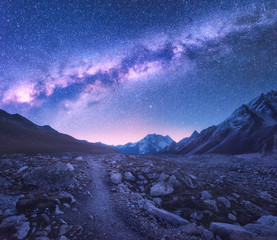 Wall Mural - Milky Way and mountains. Space. Amazing view with mountains and starry sky at night in Nepal. Trail through mountain valley and purple sky with stars. Himalayas. Night landscape with bright milky way