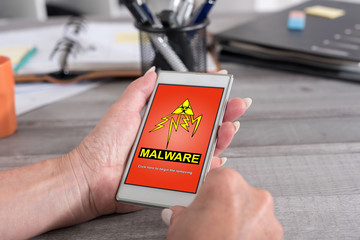 Malware concept on a smartphone