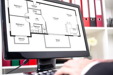 Apartment plan concept on a computer screen