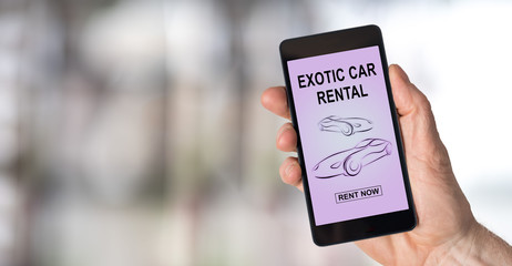Exotic car rental concept on a smartphone