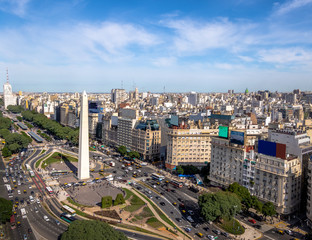 Poster de jardin Buenos Aires Aerial view of Buenos Aires city with Obelisk and 9 de julio avenue - Buenos Aires, Argentina