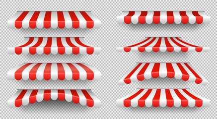 Red and white sunshade. Outdoor awnings for cafe and shop window isolated vector set