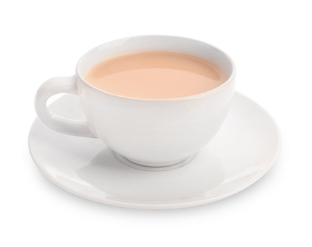 Cup of aromatic tea with milk on white background