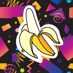 Trendy card design with banana sticker