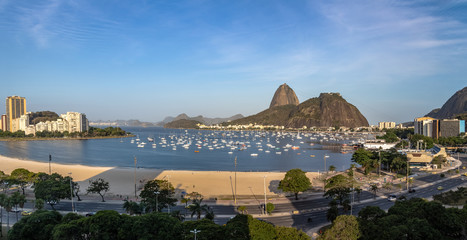 Panoramic aerial view of Sugar Loaf and Botafogo beach at Guanabara Bay - Rio de Janeiro, Brazil