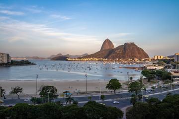 Aerial view of Sugar Loaf and Botafogo beach at Guanabara Bay - Rio de Janeiro, Brazil