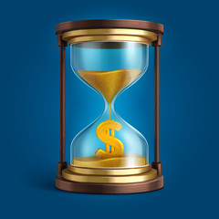 Hourglass with flowing sand and dollar currency sign. Time is money vector concept