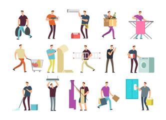 Cartoon people in household activities. Vector characters set