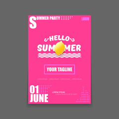 Vector Hello Summer Beach Party vertical A4 poster Design template or mock up with fresh lemon on pink background with text. Hello summer concept label or flyer with orange fruit and typographic text.