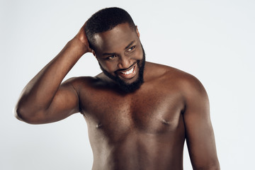 African American happy man with bare chest