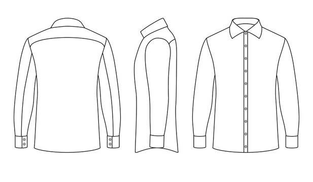 White blank business mans shirt with long sleeves and buttons in front, side, back views. Outline vector template isolated