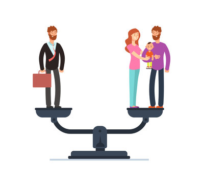 Businessman and happy family with kids on scales. Work and life balance business vector concept