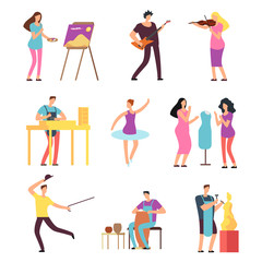 Cartoon artists and musicians vector isolated characters in creative artistic hobbies