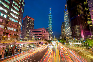 Night view of Taipei City with the light trail in Taiwan.