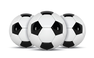 Realistic soccer ball or football ball on white background. 3d Style vector Ball isolated on white background.