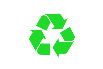 illustration of green waste recycling sign on white background