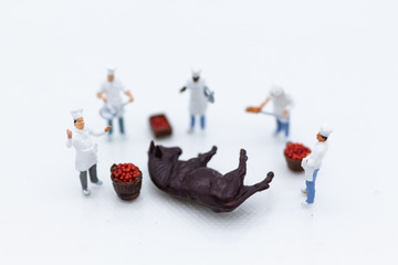 Miniature people: Chefs choose best raw materials for cooking for consumers. Image use for food and beverage concept, business concept.