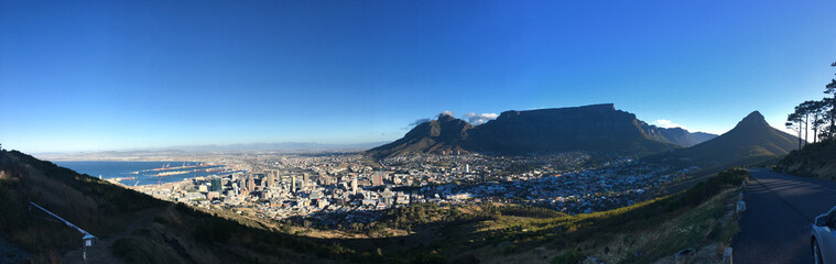 Panorama view at sunset over Cape Town, South Africa