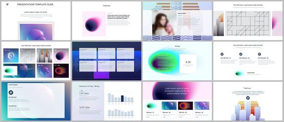Minimal presentations, portfolio templates with colorful gradient blurs and geometric backgrounds. Brochure cover vector design. Presentation slides for flyer, leaflet, brochure, report, marketing.