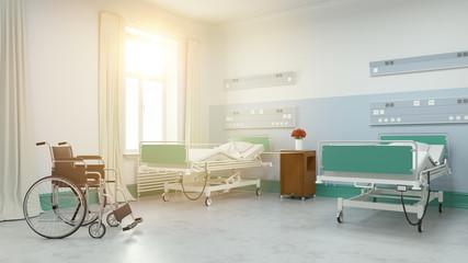Sonniges Zweibettzimmer im Pflegeheim oder Krankenhaus