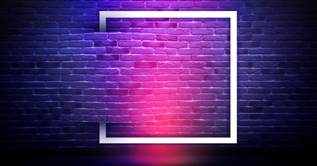 Brick wall background, neon light
