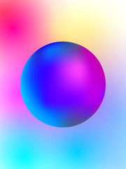 Vector abstract bright colorful neon poster illustration with ball shape & soft blurred background with transitions between color spots: red, green, pink, yellow & blue. Minimalistic template design