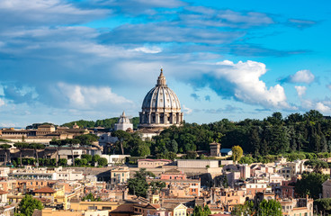 St Peter dome on Rome urban skyline