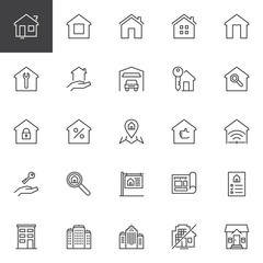Real estate outline icons set. linear style symbols collection, line signs pack. vector graphics. Set includes icons as House, Home, Office buildings, Mortgage, Garage, Blueprint, For sale, Contract