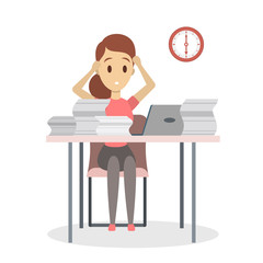 Businesswoman with deadline.