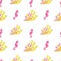 Seahorse and coral reef. Bright and colorful seamless pattern of sea fauna. Childish cartoon ocean creatures.