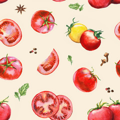 Hand drawn seamless pattern with different watercolor tomatoes and spices