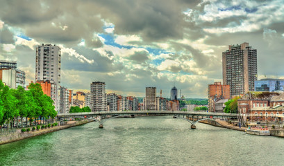 View of Liege, a city on the banks of the Meuse river in Belgium