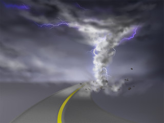 Vector realistic tornado with lightnings, gray hurricane on highway, isolated on transparent background. Wind cyclone, twisted vortex with flashes of light goes on road, dangerous natural disaster