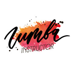 Zumba Vector lettering watercolor word text color pop art dance