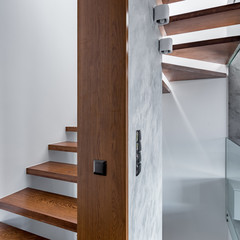 Apartment with wooden staircase