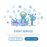 event services concept in half circle with thin line icons kids