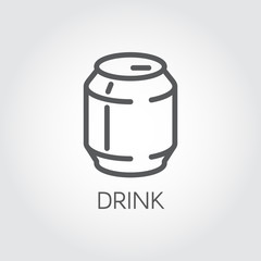 Tin can with drink line icon. Abstract soft drink, beer or lemonade concept. Aluminum package label. Food and drink contour series. Graphic web pictograph. Vector illustration