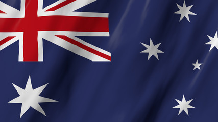 The Australian flag in 3d, waving in the wind, on white background.