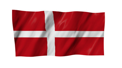The Danish flag flag in 3d, waving in the wind, on white background.