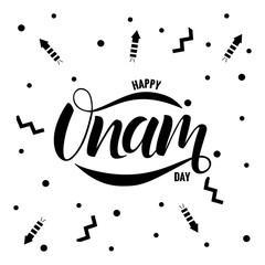 Happy Onam festival typography lettering