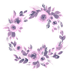 Watercolor loose peonies wreath. Hand painted floral frame arrangement in purple