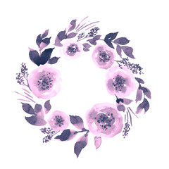 Watercolor loose floral wreath in purple. Hand painted frame arrangement