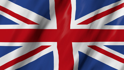 3d animation of the waving flag of British, in close