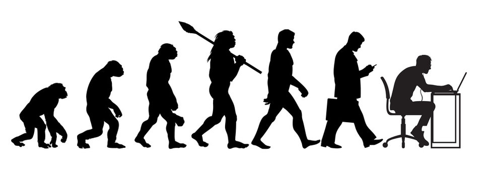 Silhouette of theory of evolution of man