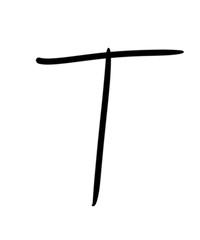 Expressive brush calligraphic handwritten script letters T