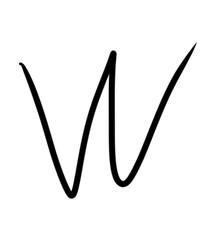 Expressive brush calligraphic handwritten script letters W