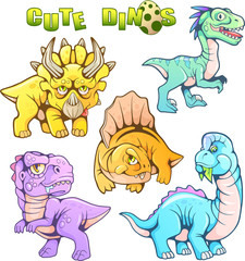 cartoon cute prehistoric dinosaurs, set of funny vector images