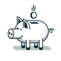 Funny piggy bank icon in linear style
