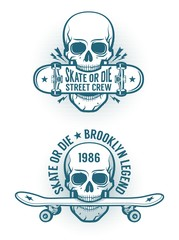 Skater emblem tattoo with skull holding skateboard in the teeth. Old-school retro style.