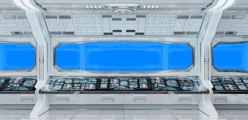 White clean spaceship interior background 3D rendering